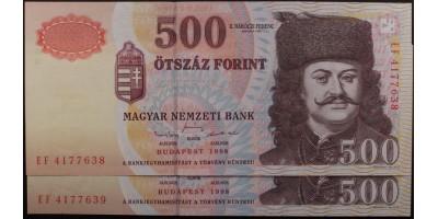 500 Forint 1998 2db Sorszámkövető