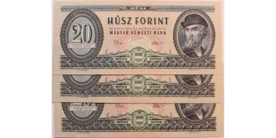 20 forint 1975 3db sorszámkövető