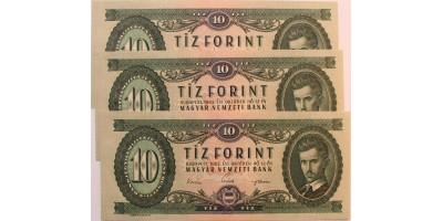 10 forint 1962 3db sorszámkövető