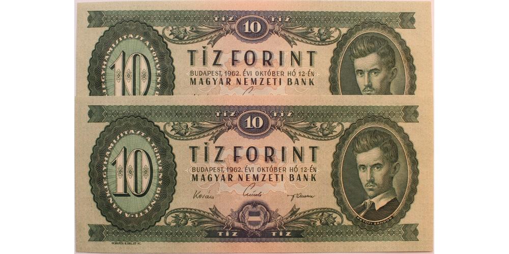 10 forint 1962 2db sorszámkövető