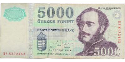 5000 forint 1999 eltérő sorszám RR!