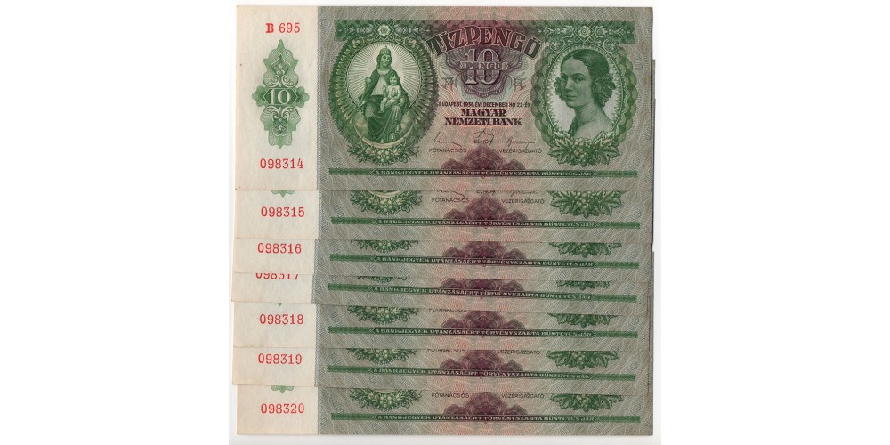 10 Pengő 1936 7db sorszámkövető
