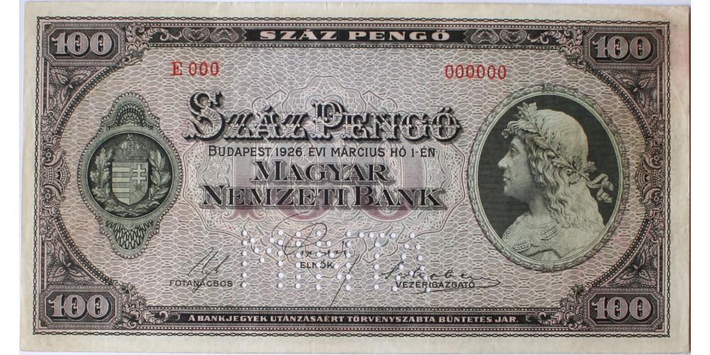 100 pengő 1926 Minta RR!