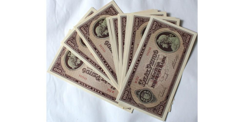 100 pengő 1945 15db sorszámkövető