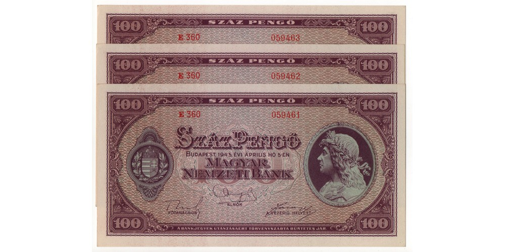 100 Pengő 1945 3db sorszámkövető