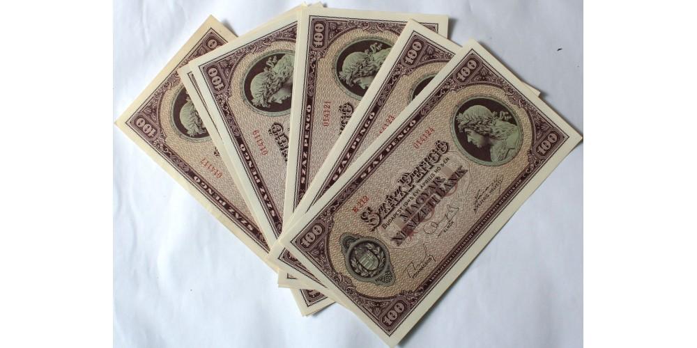 100 pengő 1945 8db sorszámkövető