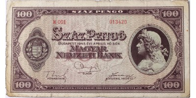 100 pengő 1945 R!