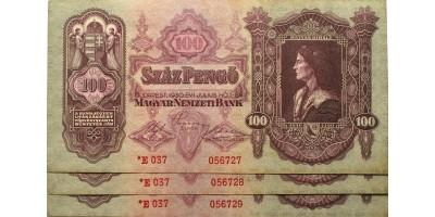 3db 100 pengő 1930 csillagos sorszámkövető R!