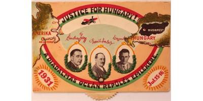 """Endresz György és Magyar Sándor a """"Justice for Hungary"""" magyar óceánrepülői által aláírt képeslap 1931"""