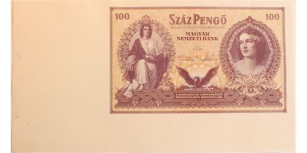 Szálasi 100 pengő 1943 ívszél RRR!