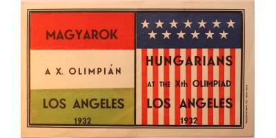 1932 Nyári Olimpia Los Angeles bőrönd címke magyar sportoló részére