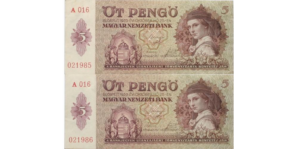 5 pengő 1939 2db sorszámkövető