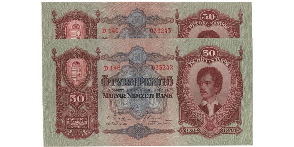 50 Pengő 1932 2db sorszámkövető