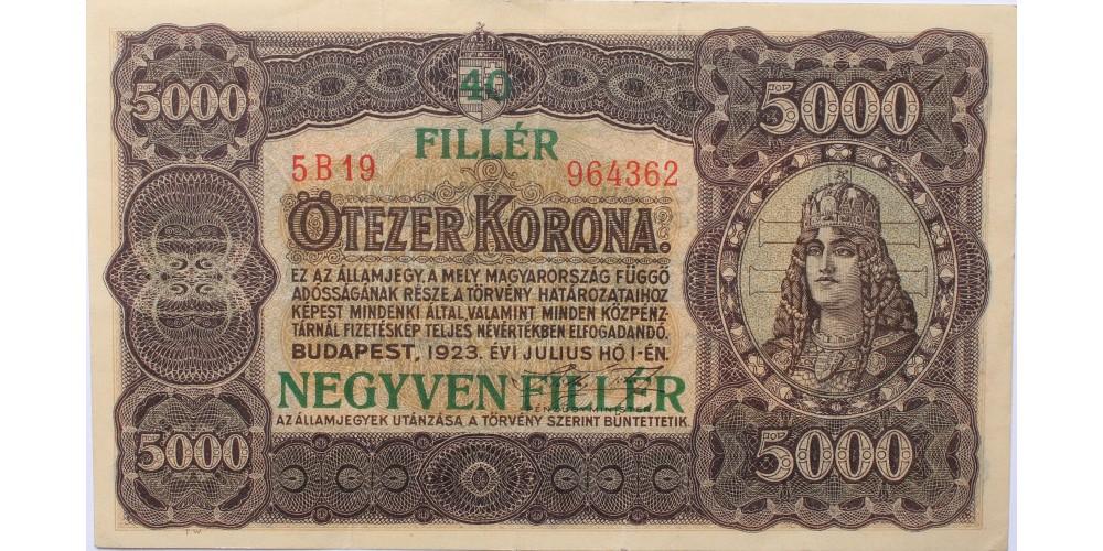 5000 korona 40 fillér 1923 R!