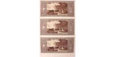 50 pengő 1945 hátlapi nyomat felvágatlan ív 3db