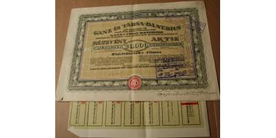 Ganz és Társa Danubius részvény 20000 korona 1923