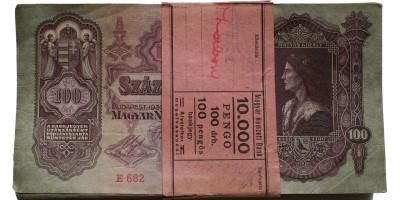 banki köteg 100db 100 pengő 1930 sorszámkövető R!