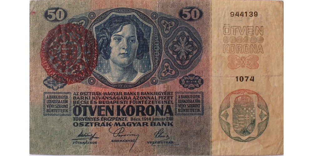 50 korona 1914 Magyarország felülbélyegzéssel R!