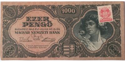 1000 pengő 1945 nyomdahibás MNB bélyeggel