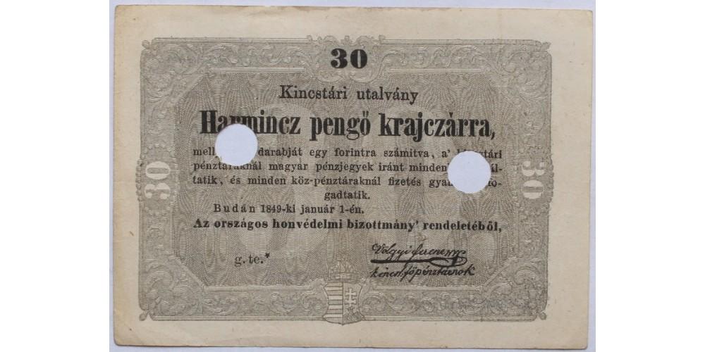 30 pengő krajcár 1849
