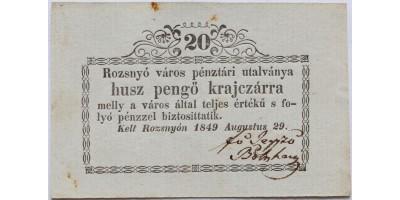 Rozsnyó 20 pengő krajcár 1849