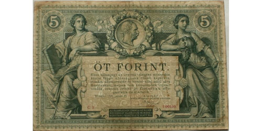 5 forint 1881