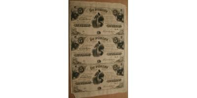 Kossuth 5 forint 1852 felvágatlan ív 3db