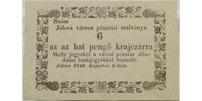 Jólsva 6 pengő krajcár 1849 R!