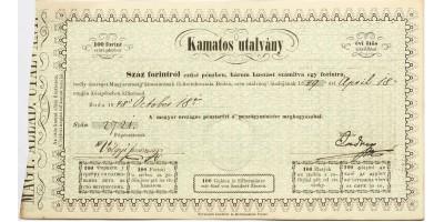 Kamatos utalvány 100 forint 1848