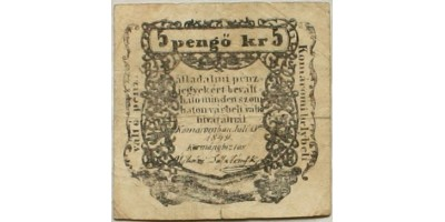 Komárom 5 pengő krajcár 1849