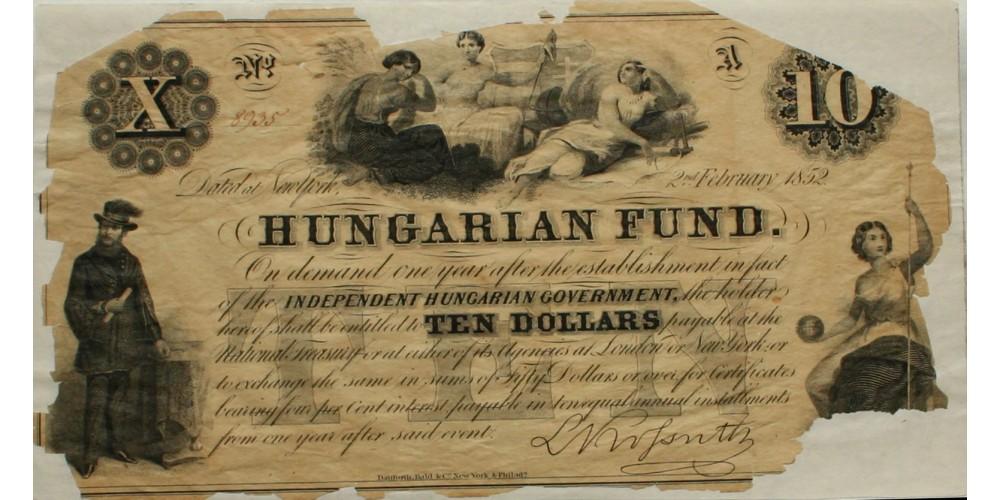 Kossuth 10 dollár 1852 R!