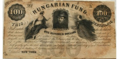 Kossuth 100 dollár 1852 Kossuth Lajos aláírásával RR!