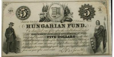 Kossuth 5 dollár 1852
