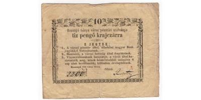 Rozsnyó 10 pengő krajcár 1849
