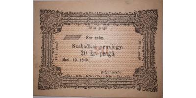 Szabadka 20 pengő krajcár 1849 (másolat) RR!