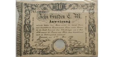 Temesvár 10 gulden 1849 érvénytelenítve R!