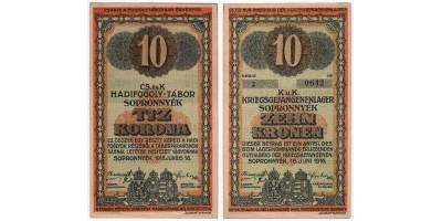 Sopronnyék hadifogolytábor 10 korona 1916