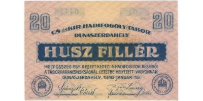 Dunaszerdahely hadifogolytábor 20 Fillér 1916