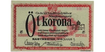 Nagymegyer hadifogolytábor 5 Korona 1916