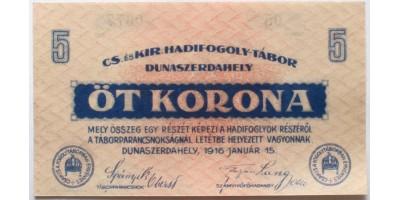 Dunaszerdahely hadifogolytábor 5 korona 1916