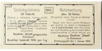Homokszil 20 fillér 1916