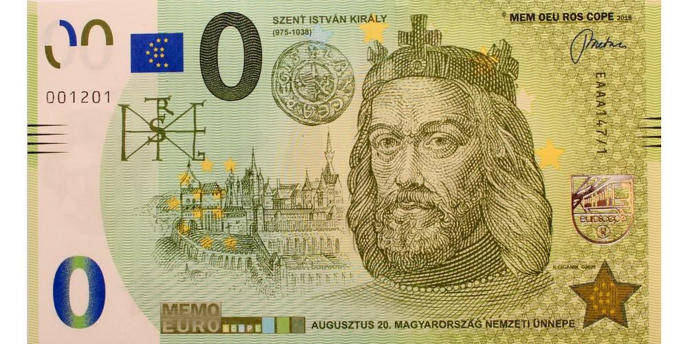 Szent István memo euro - első magyar kiadású 0 euro bankjegy