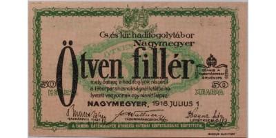 Nagymegyer hadifogolytábor 50 fillér 1916