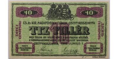 Ostffyasszonyfa hadifogolytábor 10 fillér 1916