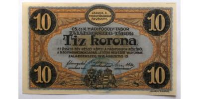 Zalaegerszeg hadifogolytábor 10 korona 1916 felülbélyegzéssel R!