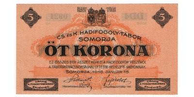 Somorja hadifogolytábor 5 Korona 1916
