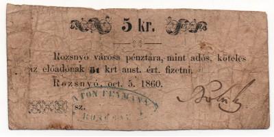 Rozsnyó 5 krajcár 1860