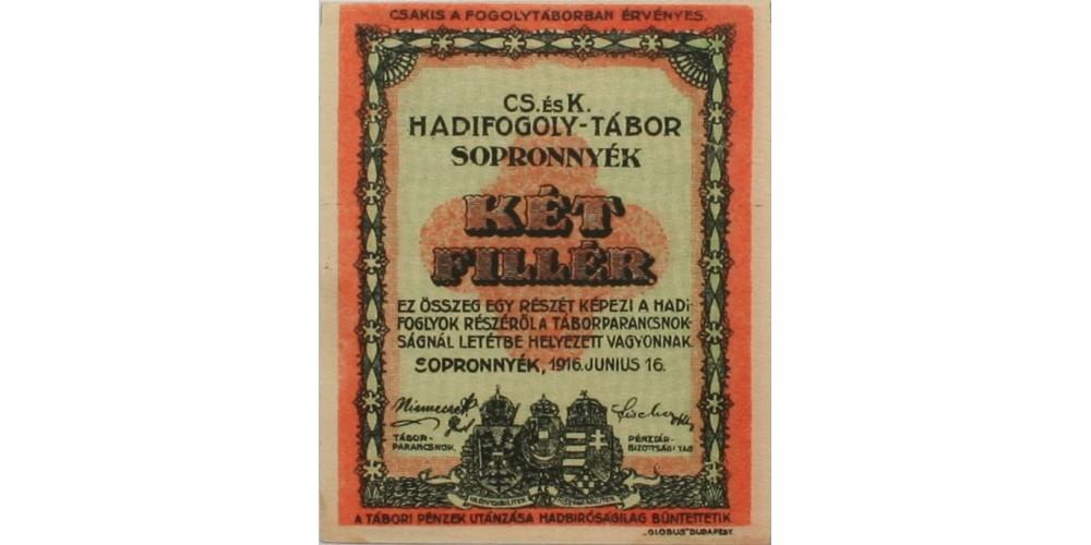 Sopronnyék hadifogolytábor 2 fillér 1916 RR!