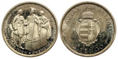 2 Pengő 1935 Pázmány Proof