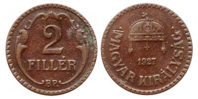 2 fillér 1927 bronz,recés peremmel R!